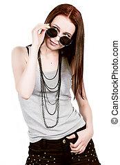 hipster, branca, óculos de sol, fundo, pretas, loura, mulher, posar, bonito, shorts, excitado