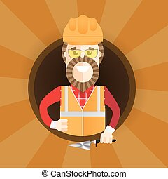 Hipster builder with beard giving thumb up. Vector flat design illustration in the circle isolated on background.