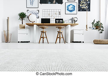 hipster, bureau maison, intérieur