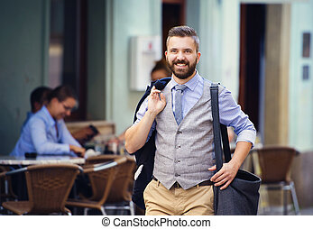 Hipster business man in town - Handsome hipster modern...