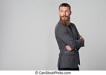 Hipster business man looking forward