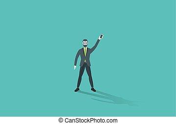 Hipster businessman keeps mobile phone in raised hand. Vector illustration.
