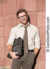 Hipster businessman outdoors