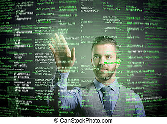 Hipster businessman with virtual screen