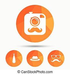 hipster, cámara fotográfica de la foto, icon., anteojos, símbolo.