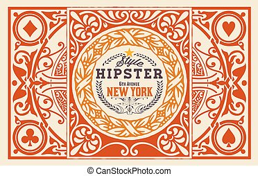 Hipster card. Baroque ornaments and floral details,