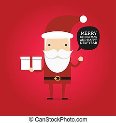 Hipster cartoon santa claus holding gift box.