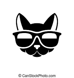 Hipster Cat Icon on White Background. Vector