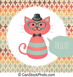 Hipster Cat in Textured Frame design illustration - Vector...