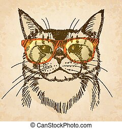 Hipster cat with sunglasses. Vector illustration, eps10.