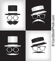 hipster, cavalheiro, ilustração
