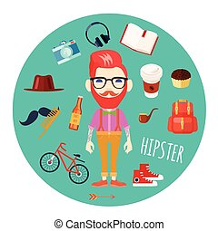 Hipster Character Accessories Flat Round Illustration