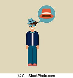 hipster character bow tie hat