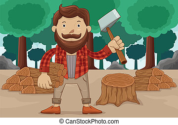 Hipster chopping wood - A vector illustration of hipster...