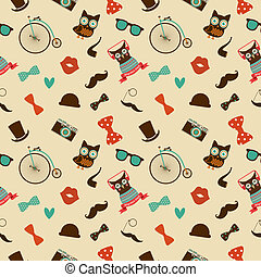 Hipster Colorful Seamless Pattern