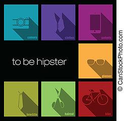 hipster, coloridos, ícones