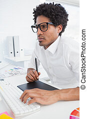 hipster, concepteur, travailler, sien, bureau