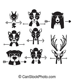 hipster, conception, animal
