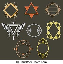 hipster, conjunto, etiquetas, tribal, boho