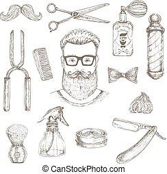 hipster, conjunto, peluquero, elementos