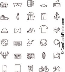 Hipster contour icon set - Set of the simple hipster icons