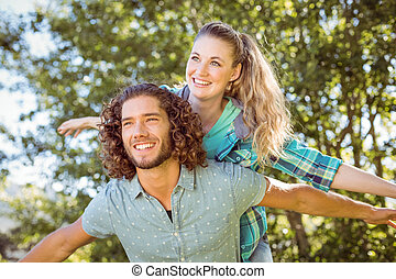 Hipster couple having fun together