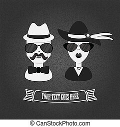 Hipster couple in black and white with texture gradient...
