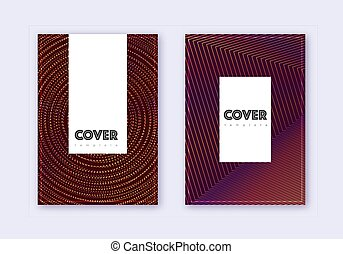 Hipster cover design template set. Orange abstract lines on ...