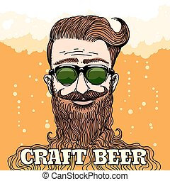 Hipster Craft Beer Theme - Hipster Head with huge beard with...