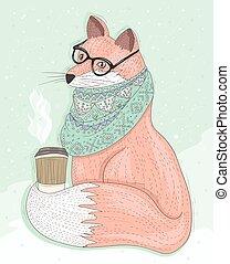 hipster, cute, bebida, raposa, óculos