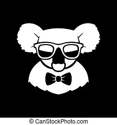 Hipster Cute Koala in Glasses and Bow Tie. Simple Logo Sign....
