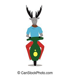 Hipster deer on a moped