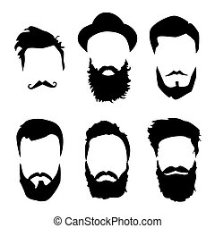 Hipster detailed hair and beards set. Fashion bearded man. Long beard with facial hair. Beard isolated on white background. Vector illustration