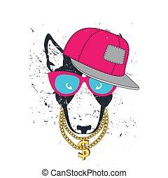 HIPSTER dog pitbull print for t-shirt