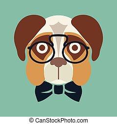 Hipster dog vector illustration