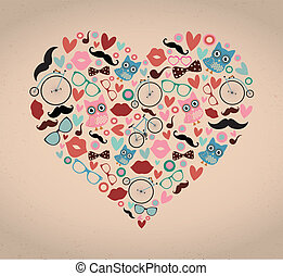 Hipster Doodles Set in Heart Shape - Vector Hipster Doodles...