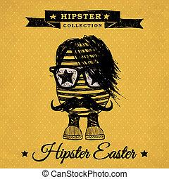 Hipster Easter - vintage poster with egg.