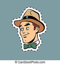 Hipster elegant man head sticker label