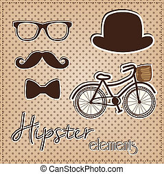 hipster, elemento, colección