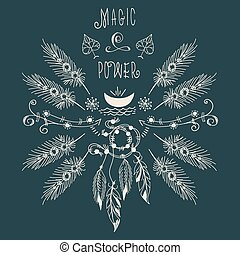 Hipster ethnic boho label with feathers and moon. Rustic...