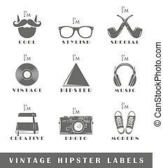 hipster, etiquetas, jogo, vindima