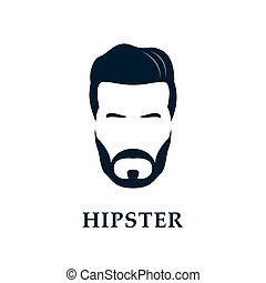 Hipster face. Men's beard and hair.