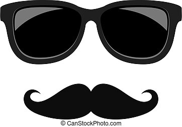 Hipster face moustaches and glasses