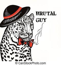 Hipster fashion background with stylishleopard men hat sigarette brutal guy  trendy background.eps