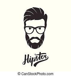 Hipster fashion bearded man portrait in glasses.