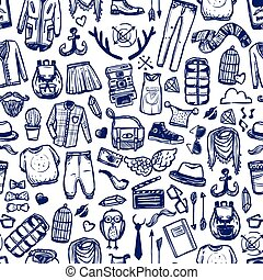 Hipster fashion clothing doodle seamless pattern