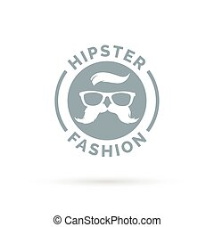 Hipster fashion icon with hippie glasses and mustache symbol.