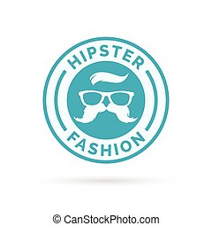 Hipster fashion icon with hippie glasses and mustache symbol stamp.