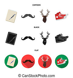 Hipster, fashion, style, subculture .Hipster style set collection icons in cartoon, black, flat style bitmap symbol stock illustration web.