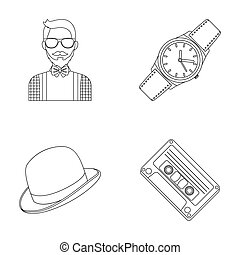 Hipster, fashion, style, subculture .Hipster style set collection icons in outline style raster, bitmap symbol stock illustration web.